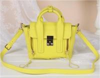 2014 Famous Brand P.Lim Classical 3.1 Pashli  Genuine Leather Mini Suitcase Neon Hasp Double Zipper Top Quality Messenger bag