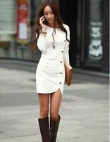 2015 Ladies Elegant Long Sleeve Buttons Slim Hip Casual Spring Dress Bodycon Dresses Women Work Wear OL Dress Vestidos 558