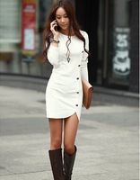 New Arrival 2014 Spring Sexy Women Cotton Dresses Long Sleeve Package Hip Slim Button Decorative Dresses 558