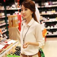 Spring Autumn Women's Long-sleeve Shirt Plus Size White Chiffon Slim Basic Shirt OL Blouse