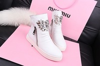 2013 autumn and winter fashion boots zipper fashion boots flat heel casual shoes