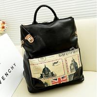 New Multicolor Korea style PU Union Jack multi-purpose backpack Daily use travel Slanting cross bag