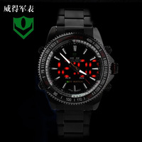 HK Post Weide Men Multifunctional Sport Digital Analog Watches Black Stainless Steel Band Dive Watch Luminous Hands wh-903