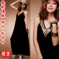 Maxi 2014 New Mm plus size cotton long design one-piece dress fashion bohemia vintage full dress beach dress