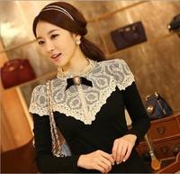 Spring Autumn Women's T-shirt Long-sleeve Laciness Stand Collar Slim Basic Shirt Princess Lace OL Blouse