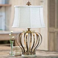 Lighting american style antique table lamp study lamp vintage iron bedside table lamp