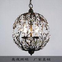 American wrought iron antique lighting spherical crystal lighting fitting bar pendant light