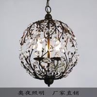 American wrought iron antique lighting spherical crystal lighting fitting bar pendant light