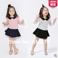 2014 New Fashion Polka Dot Girl's Dress Long Sleeve Cotton Children Dress Free Shipping