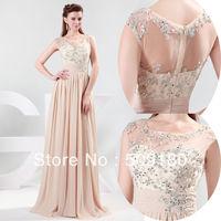 elegant high quality boat neck floor length pleated skirt custom make evening gown JO005 new arrivals 2014 long evening dresses