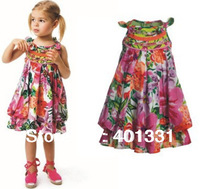 2014 New brand design,girls floral dress, 100%cotton sleeveless drawstring sash summer dress baby girls dress