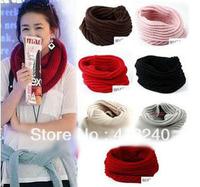 Fashion Women Warm Knit Neck One Circle Wool Blend Cowl Snood Ring Scarf Shawl Wrap Collar