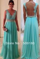 elegant high quality V neck floor length pleated custom make celebrity dress JO006 light green backless evening dress