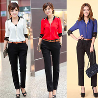 Mandarin Collar Lace Shirt Casual All-match Chiffon Blouses Fashion Slim Korean Women Clothing  Brand Hollow Out Shirts