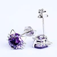 S925 pure silver purple zircon cat stud earring fashion silver jewelry earrings free shipping