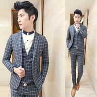 men's new fashion  fashion vintage fashion plaid slim easy care male blazer suit  free shipping
