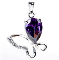 Purple butterfly 925 pure silver pendants Women butterfly pendant free shipping