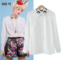 Free shipping/2014 New Women's /Euramerican new styles fashion lapel bead long sleeve Women's Shirts