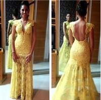 elegant high quality blue V neck floor length deep V neck customized women formal celebrity dress JO011 yellow lace long dress