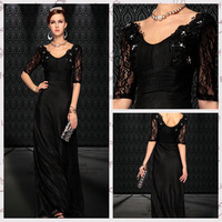 2014 Spring New Formal Dinner Banquet Special Occasion Embroidery V-Neck Celebrity Party wedding Prom Evening Dress