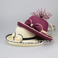 Wholesale 6pcs COOL Women Paper Straw Hats Womens Summer Bow Bucket Hat Ladies Spring Wide Brim Sun Caps Lady Beach Cloches Cap