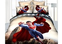 Wholesale of 100cotton queen 3d print superman bedding sets 4pcs duvet cover sheet /bedclothes/bed comforter /quilt covers(s71)