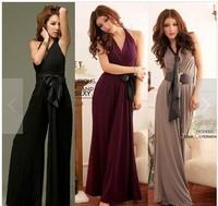 2014 new arrive Sexy deep V-neck dress jumpsuit one piece jumpsuit trousers jumpsuit loose size pants with belt 3002