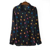 Free shipping/women's Euramerican style colorized five-pointed star long sleeve lapel chiffon /women's shirt/Wholesale+Retail