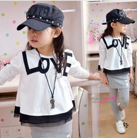 Free shipping 5pcs/lot 2014 New Fashion Love Letter Baby Girl T Shirt Long Sleeve Short Shirt For Kids Children Blouse Tops