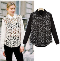 Wholesale Cheap 2014 spring summer brand new fashion sleeve sexy lace chiffon blouses shirts women casual floral top black white