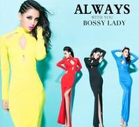2014 new arrival Fashion sexy cutout racerback placketing long-sleeve dress slim dress 3821