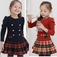 Clothing 14 female child preppy style 100% cotton plaid one-piece dress long-sleeve princess one-piece dress