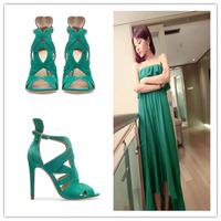 Fashion stiletto women's shoes candy color summer high-heeled sandals open toe shoe sheepskin 2013