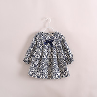 2014 spring autumn Baby girls clothing flower pattern long sleeve T shirt dress Comfortable Dresses 3-8T