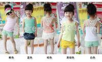 [retail] girls summer lace vest cool sleeveless shirt for children summer t shirts 1 pcs=5.99USD