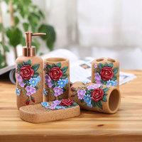 Rose bathroom cassina five pieces set toothbrush holder wash set fashion bathroom suite