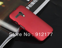 Red Slim Fit Solid Color Hard Plastic Back Case Protective Phone Cover Skin for Motorola Moto G + Free Screen Film