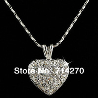 Free shipping 18K silver Plated Gp Austrian Crystal Heart Necklace Men Brand Jewelry Pendants G925-C