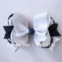 100pcs/lot Black and White Baby Girl Hair Bow Free Shipping