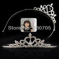 Free Shipping Super Cute Princess Prom Wedding Party Birthday Rhinestone Heart Headband Crown Tiara, 1pc/lot