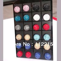 wholesale high  Quality   20pcs=10 Pairs/Lot, mix 12 colors,10mm Crystal  Disco Ball Shamballa Earrings  free shipping E001