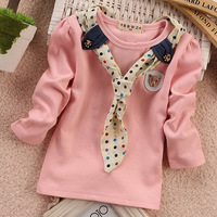 Free shipping !New 2014 spring  4 color  Fashion cute girls with scarves round neck T-shirt bottoming shirt  CQCSG003
