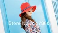 Wholesale 6pcs NEW 2014 Women Paper Straw Fedora Sun Hat Womens Floppy Brim Fedoras Hats Ladies Summer Big Brim Caps Beach Hats