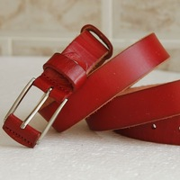 Women belt red belt red cowhide belt women's pin buckle strap the first layer of leather