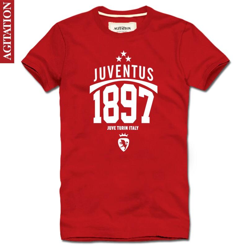 New 2014 sport soccer Agitation 100% short-sleeve cotton round neck T-shirt football juventus shirt men(China (Mainland))