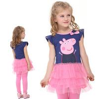 New Peppa Pig Dress Girl Print Dress Brand Clothing Fit 2-5Y 5pcs/lot free shipping