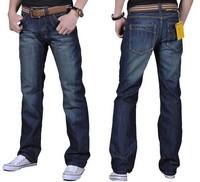 size 28-48! Men plus size jeans denim pants 2014 Spring new men's business blue long trousers hot sale promotion FREE SHIPPING