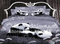 Hot Beautiful 100% Cotton 4pc Doona Duvet QUILT Cover Set bedding set Full / Queen/ King size 4pcs animal black white grey panda