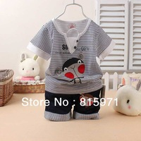 2014 new style baby summer stripped suits fashion children monkey character clothing set wholesale 6522