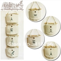 Free Shipping! Cotton and Linen Fabric Wall Hanging Waterpro Of  Storage Bag  Debris pouch 4 Pockets/Sets Novelty Households